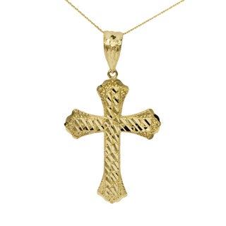 10k Yellow Gold Nugget Cross Pendant