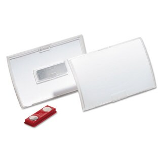 Durable Click-Fold Convex Name Badge Holder Double Magnets 3 3/4 x 2 1/4 Clear 10/Pack