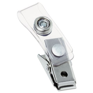 GBC Metal Badge Clips with Plastic Straps Silver 100/Box