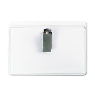 Universal Clip-On Clear Badge Holders with Inserts Top Load 2 1/4 x 3 1/2 White 50/Box