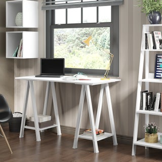 "48"" Wood Sawhorse Computer Desk - White"