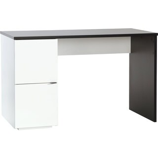 Voelkel Young Users Collection White and Black Wood Single-pedestal Desk
