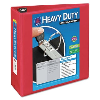 Avery Heavy-Duty View Binder with Locking 1-Touch EZD Rings 4-inch Capacity Red