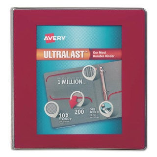 Avery UltraLast View Binder with 1-Touch Slant Rings 11 x 8 1/2 1 1/2-inch Capacity Red