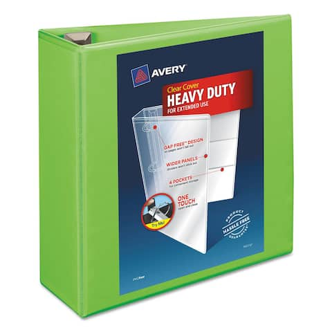 Avery Heavy-Duty View Binder with Locking EZD Rings 4 inches Capacity Chartreuse