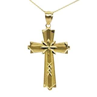 10K Yellow Gold Diamond Cut Cross Pendant|https://ak1.ostkcdn.com/images/products/13867248/P20507633.jpg?impolicy=medium