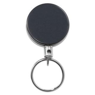 Advantus Heavy-Duty Retractable ID Card Reel 18-inch Extension Black/Chrome 6/Pack