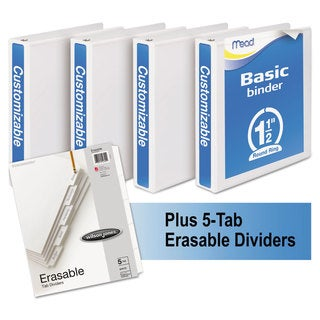 Mead Economy Round-Ring View Binder Plus Pack 1 1/2 inches Capacity White 4/Carton