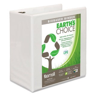 Samsill Earth's Choice Biobased D-Ring View Binder 5-inch Capacity White