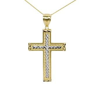 10k Gold Two-Tone Cross Pendant|https://ak1.ostkcdn.com/images/products/13867290/P20507635.jpg?_ostk_perf_=percv&impolicy=medium
