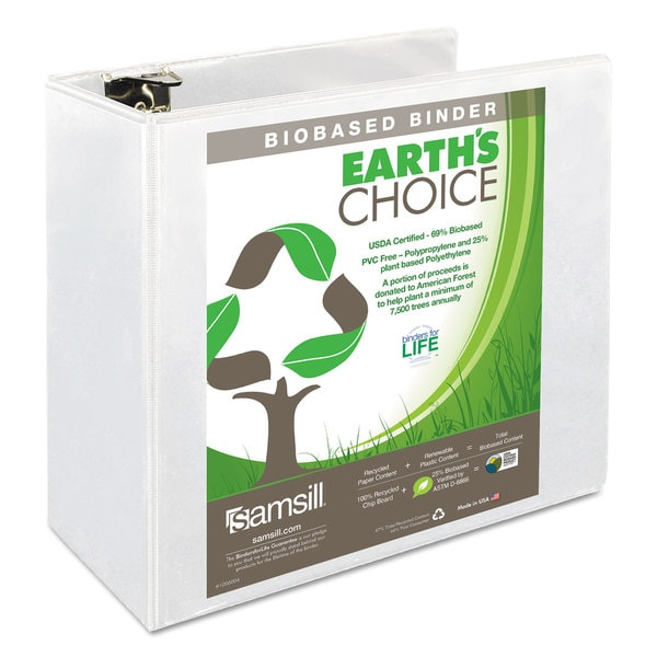 Samsill Earth's Choice Biobased Round Ring View Binder 5 inches Capacity White