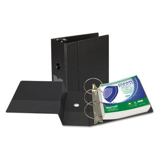 Samsill Clean Touch Locking Round Ring Reference Binder Antimicrobial 5 inches Capacity Black