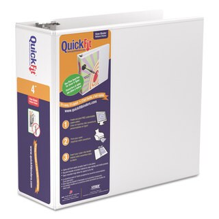 Stride QuickFit D-Ring View Binder 4-inch Capacity 8 1/2 x 11 White