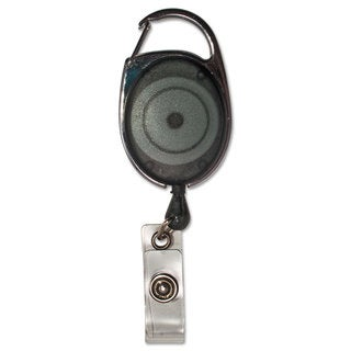 Advantus Carabiner-Style Retractable ID Card Reel 30-inch Extension Smoke 12/Pack