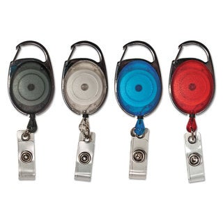 Advantus Carabiner-Style Retractable ID Card Reel 30-inch Extension Assorted 20/Pack