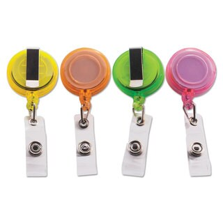 Advantus Deluxe Retractable ID Card Reel 30 inches Extension Assorted Colors 20/Pack