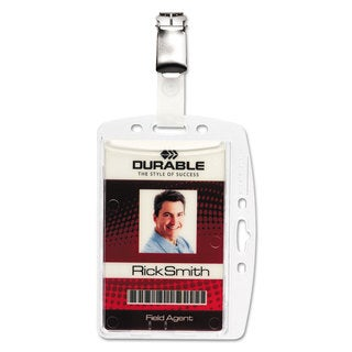 Durable Shell-Style ID Card Holder Vertical/Horizontal With Clip Clear 25/Pack
