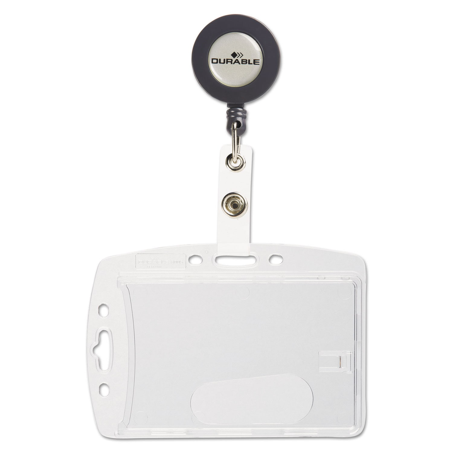 Clear with Reel Durable Shell-Style Id Card Holder Vertical//Horizontal 10//Pack