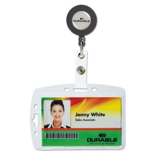 Durable Shell-Style ID Card Holder Vertical/Horizontal With Reel Clear 10/Pack