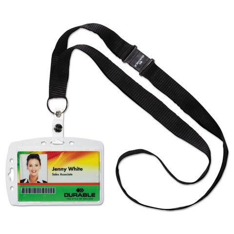 Durable Shell-Style ID Card Holder Vertical/Horizontal With Necklace Clear 10/Pack