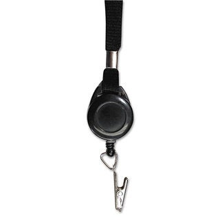 Advantus Lanyards with Retractable ID Reels Clip Style 36-inch Long Black 12/Pack