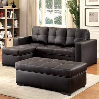 Furniture of America Bardow Contemporary 2-piece Black Double Stitched Sectional and Otttoman Set