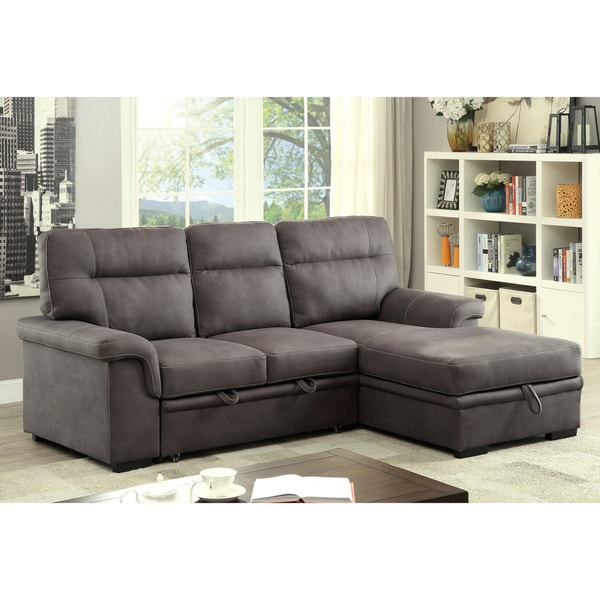 B751 Transitional Reclining Sectional With Storage Console: Shop Furniture Of America Samera Transitional Graphite