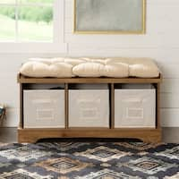 42-inch Barnwood Storage Bench with Totes and Cushion