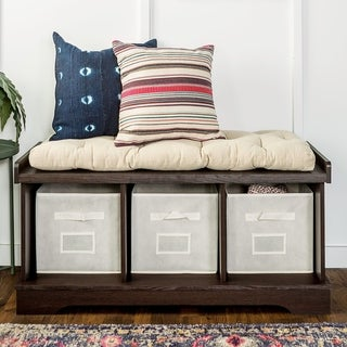 The Gray Barn Paradise Hill Espresso Storage Bench with Cushion