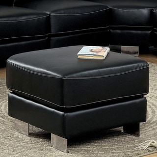 Furniture of America Garzion Black Bonded Leather Match Square Ottoman