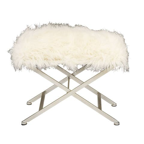 Modern 20 x 25 Inch White Rectangular Iron and Fur Stool by Studio 350