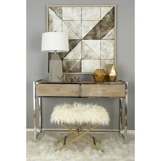 Benzara White Fur and Metal High Stool