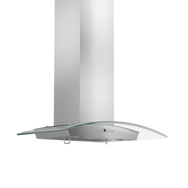 ZLINE 36-inch 760 CFM Wall Mount Stainless Steel Range Hood & Glass with Crown Molding (KZCRN-36)