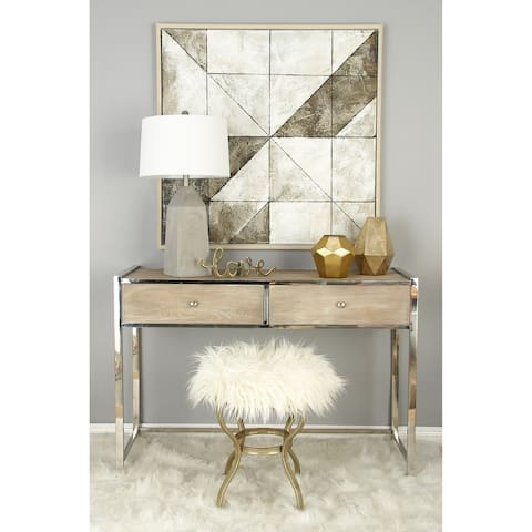 Contemporary 21 x 20 Inch White Wood, Iron and Fur Stool by Studio 350