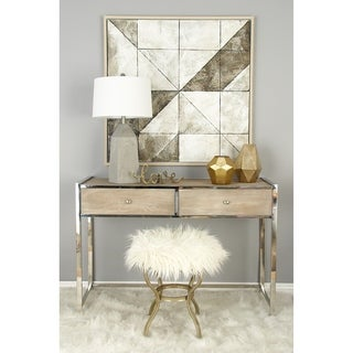 Benzara Metal White Fur Stool