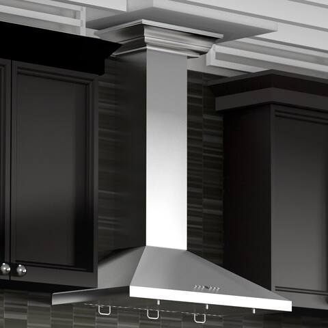 ZLINE 30 in. Wall Mount Range Hood in Stainless Steel with Crown Molding (KL2CRN-30)