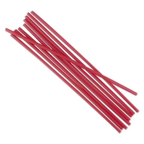 Boardwalk Unwrapped Single-Tube Stir-Straws 5 1/4-inch Red 1000/Pack 10/Carton