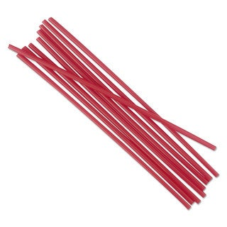 Boardwalk Unwrapped Single-Tube Stir-Straws 5 1/4-inch Red 1000/Pack 10/Carton