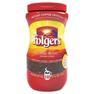 Folgers Instant Coffee Crystals Classic Roast 16-ounce Jar
