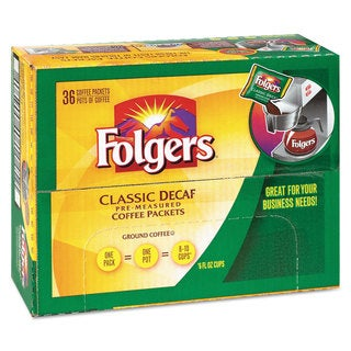 Folgers Coffee Classic Roast Decaf 0.9-ounce Bag 36/Carton
