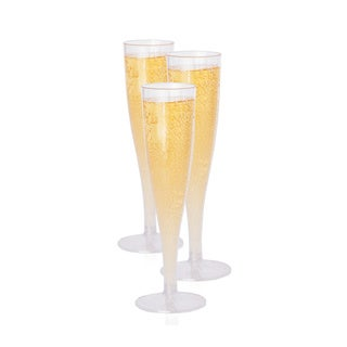 Oasis Creations Premium Hard Plastic Champagne Flute Box Set - 10 5.7 Oz Clear Stem Cups