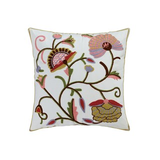 Aya Multicolor Cotton 18-inch x 18-inch Embroidered Throw Pillow
