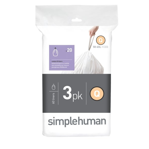 Simplehuman 20-count 13-17 Gallon/ 50-65 Liter Code Q Custom Fit Trash Can Liners (Pack of 3)