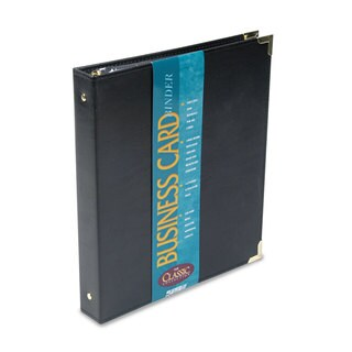 Samsill Classic Vinyl Business Card Binder 200 Card Capacity 2 x 3 1/2 Cards Ebony