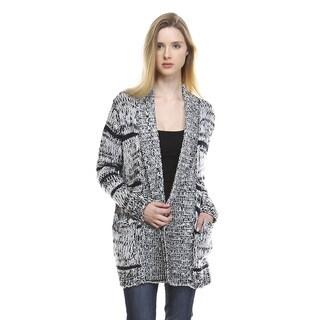 Women's Long-sleeve Grey Acrylic Multi Sabrina Cardigan