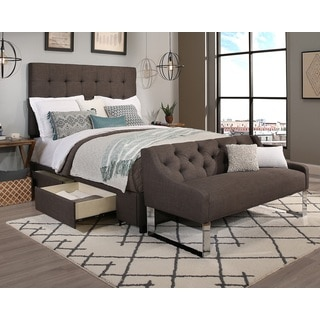 Republic Design House King/Cal King Size Manhattan Grey Headboard, Storage Bed and Tufted Sofa Bench Collection