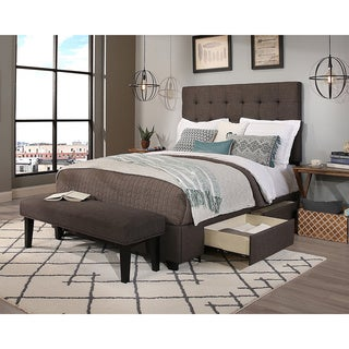 Republic Design House King/Cal King Size Manhattan Grey Headboard, Storage Bed and Bench Collection