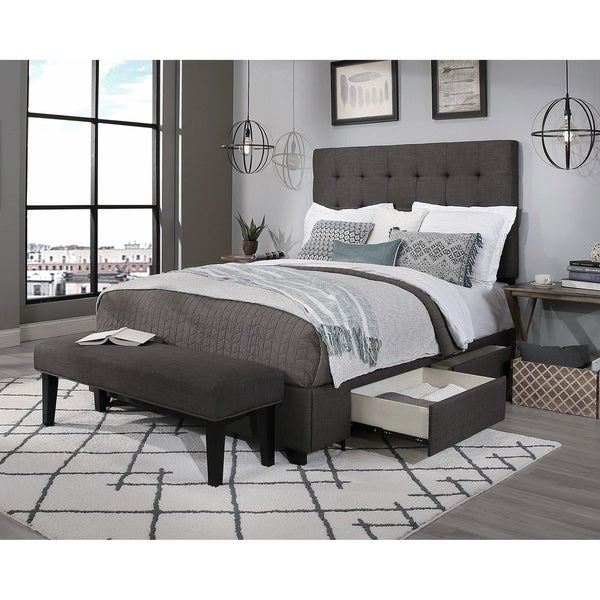 Republic Design House Queen Size Manhattan Grey Headboard, Storage Bed And  Bench Collection