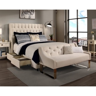 Republic Design House Queen Size Cambridge Ivory Headboard, Storage Bed and Tufted Sofa Bench Collection