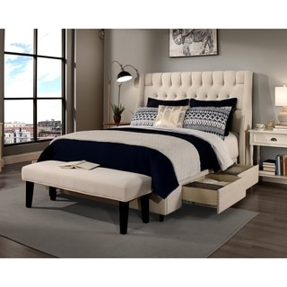Republic Design House Queen Size Cambridge Ivory Headboard, Storage Bed and Bench Collection